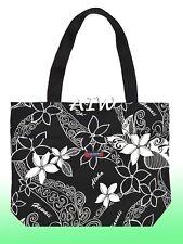 Large Hawaiian Print Tote Bag w/Top Zipper  - 803Black