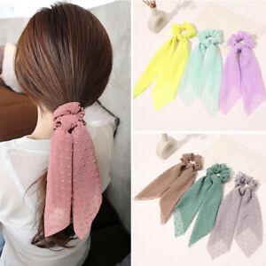 Floral Scrunchie Scarf Hair Bow Ponytail Elastic Boho Hairband Rope Ribbon Ties