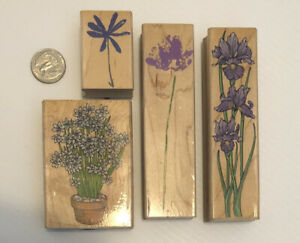 Lot of 4 Vintage Rubber Stamps HERO ARTS Iris Wildflower Narcissus Daisy PRETTY!