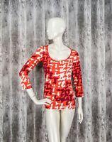 Just Cavalli Womens Top Blouse 3/4 sleeve Orange print signed Viscose Stretch L