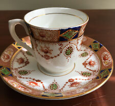 BONE CHINA CUP & SAUCER BY COLCLOUGH IMARI PATTERN BLUE ORANGE SWAGS England