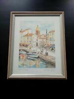 Superbe illustration signée Michèle Gallego Saint-Tropez Provence avec cadre