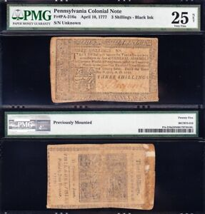 *SCARCE* Apr 10, 1777 3 Shillings Colonial Currency PMG 25/n! FREE SHIPPING!