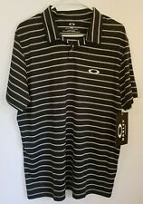 Oakley Men's Caliber Golf Polo Size Medium Stripes Black MSRP $60 NEW W TAGS
