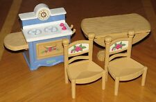Fisher Price Briarberry Bears Furniture Lot Stove Drop Leaf Table 2 Chairs