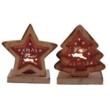 Teelichthalter Holz & Kupfer Set Stern & Tanne Tischdeko Weihnachten Kerzen
