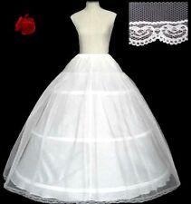 wedding//prom 3 hooped lace edged adjustable white crinoline UK