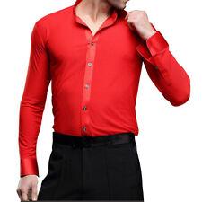 Hot Men Dancewear Smooth Ballroom Latin Shirt Top Modern Costume Dance Clothing