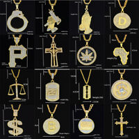 "Men's Hip Hop Gold Plated Ice Out Round Maple Leaf Pendant 23"" Chain Necklace"