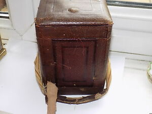 LARGE ANTIQUE REPEATER / STRIKING CARRIAGE CLOCK MOROCCO LEATHER TRAVEL CASE