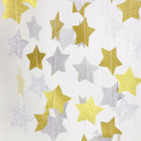 1Pc Paper Garland Strings Star Wedding Party Garden Room Hanging Decor 4Colors