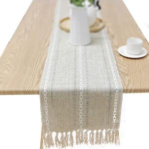 Vintage Macrame Lace Table Runner with Tassel Boho Wedding Farmhouse Home Decor