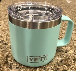 YETI 14 oz Seafoam Rambler Mug Insulated Metal Stainless Cup w/Lid Good Cond