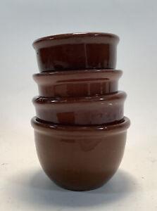 Set of (4) Small Nesting Custard Cups Ramekins Hand Made Brown Kitchen Serving