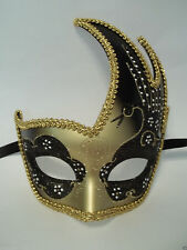 Black Gold Masquerade Swan Flame Mask Mardi Gras Ball Dance Prom