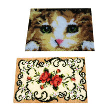 2 Set Cat Flower Latch Hook Kits Mat Embroidery Package Home Decor Diy Craft