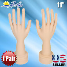 Mannequin Movable Flexible Hand Display Jewelry Bracelet Nail Ring Holder 1 Pair