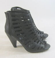 "Womens Black 4""BLOCK High Heel Open Toe Straps Sexy Shoes Size 8.5"