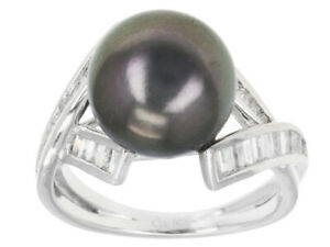 Cultured Tahitian Pearl / 1.56ctw White Zircon Rhodium Sterling Silver Ring
