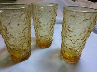 "Set of 3 Vintage Anchor Hocking Lido Milano Amber Glass Water Tumblers 5 1/2"""