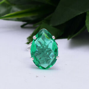Glorious Green Tourmaline Gemstone 925 Sterling Silver Handmade Ring All Size