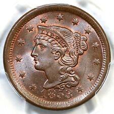 1853 N-25 PCGS MS 66 BN Braided Hair Large Cent Coin 1c