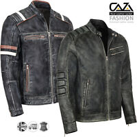 Mens Motorcycle Vintage Distressed Black Genuine Leather Biker Cafe Racer Jacket