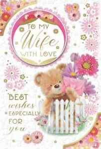 """To My Wife On Your Birthday Card. Large Card 9"""" x 6"""