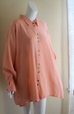 NEW Silhouettes -2X Pink Salmon Cotton Gauze Crinkle Art-to-Wear Tunic Shirt Top