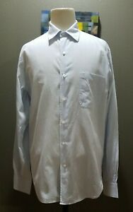 Loro Piana Cotton Flax Crossweave Blue Long Sleeve Button Down Shirt Italy 16/41