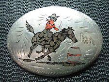 COWBOY COWGIRL BARREL RACING WOOD CORAL BELT BUCKLE! VINTAGE! RARE! HANDMADE!