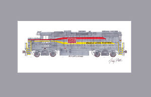 "Family Lines (A&WP) GP38-2 #6008 11""x17"" Matted Print Andy Fletcher signed"