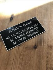 Vintage Tactile Attention Please No Solicitors Peddlers or Agents Sign