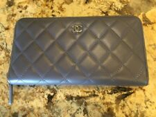 New Chanel Leather Quilted Zip Around Wallet