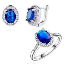 Gift Box Pack Jewelry Set 18K White Gold Filled Oval Dark Blue C.Z Ring+Earring