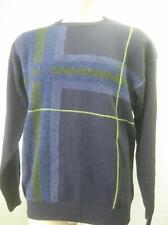 mens NAUTICA  NAVY WOOL BLEND KNIT CREWNECK sweater shirt LARGE CLEAN abstract