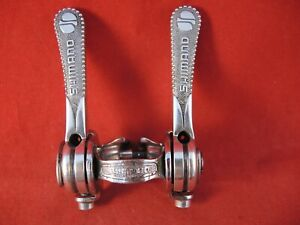 SHIMANO ALMI ALLOY FRICTION SHIFTERS 1970`s NON - INDEXED - RENOVATED + POLISHED