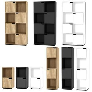 2, 4, 8 Cube Cupboard Shelving Display Shelf Storage Unit Wooden Door Organiser