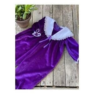 Vintage 80s 90s Purple Velvet Romper Jumpsuit Lace Puritan Collar Trim Sz 24M