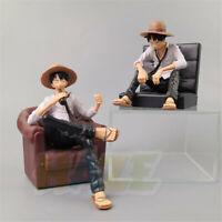 Anime ONE PIECE Monkey D. Luffy Sitting sofa PVC Figure Model Cake Decor New
