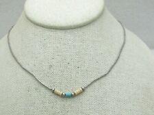 "Sterling Southwestern Puka Turquoise Beaded Necklace 16"""