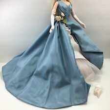 BARBIE DOLL CLOTHES Stunning Grand Entrance Blue & Ivory Ball Gown Gloves Shoes