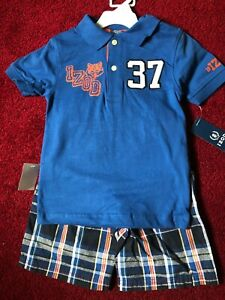 NWT New BOYS IZOD POLO SHIRT PLAID SHORTS SET SIZE 4T NAVY BJ'S STYLE