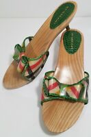Burberry Sandals Slides Kitten Heel Plaid Bow Green Size EUR 37 / US 7
