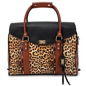 BADGLEY MISCHKA Leopard Travel Tote Weekender Bag Vegan Leather