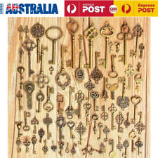 70PCS Bronze Keys Vintage Antique Old Look Skeleton Heart Bow Pendant AU