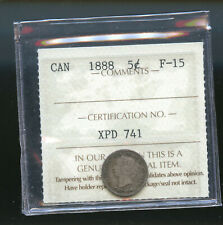 1888 Canada 5 Cents ICCS Certified F15 DCB170