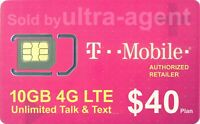 Preloaded T-Mobile TMobile SIM Card with Prepaid Plan $40 10GB 4G LTE  30 Days