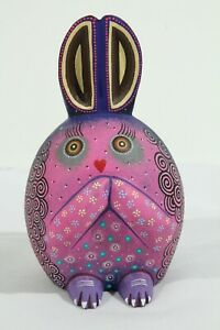 Wood Baby Rabbit Figurine Alebrije Mexico  Oaxaca Signed Collectible Purple
