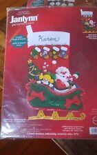 "Vtg Janlynn Felt Applique Christmas stocking kit 11x16.5"" Holiday Santa NEW"